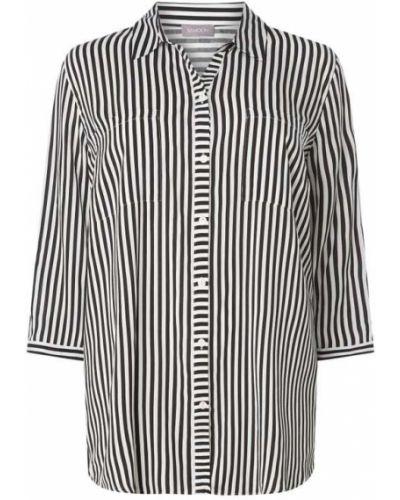 Czarna bluzka w paski z wiskozy Samoon
