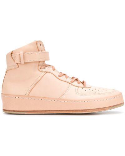 Кожаные кроссовки высокие бежевые Hender Scheme