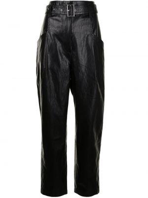 Прямые кожаные черные брюки Goen.j