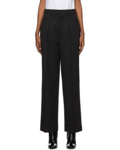 Брючные прямые черные прямые брюки с поясом Ami Alexandre Mattiussi