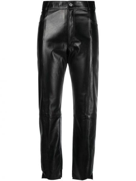 Прямые кожаные черные брюки Manokhi