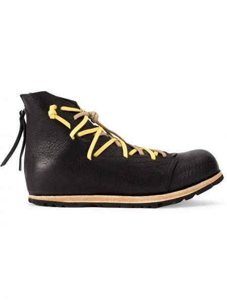 Ажурные черные кожаные ботинки на шнуровке круглые Artselab