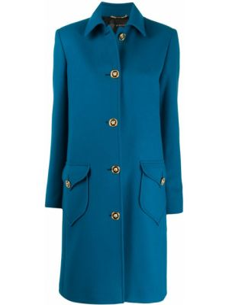 Синее шерстяное пальто классическое с капюшоном Versace