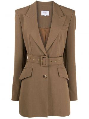 Коричневый пиджак с поясом со шлицей Nanushka