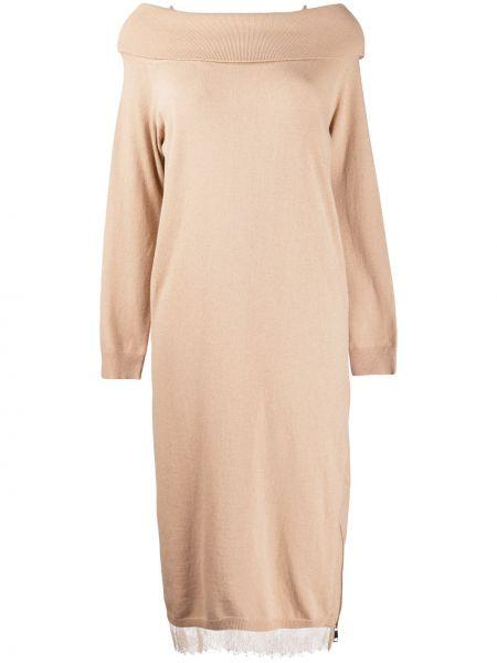 Шерстяное с рукавами платье макси с открытыми плечами Twin-set