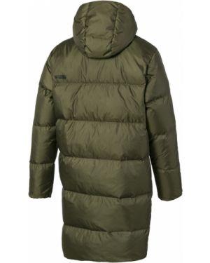 Теплая оливковая куртка с капюшоном с манжетами на молнии Puma