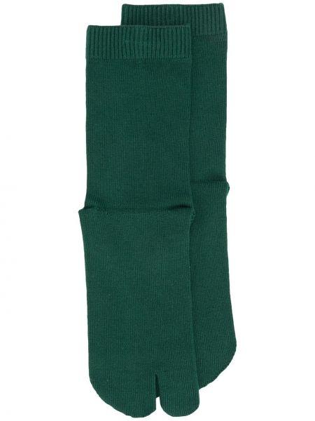 Хлопковые зеленые носки в рубчик Maison Margiela