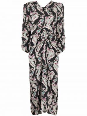 Шелковое платье миди - черное Isabel Marant