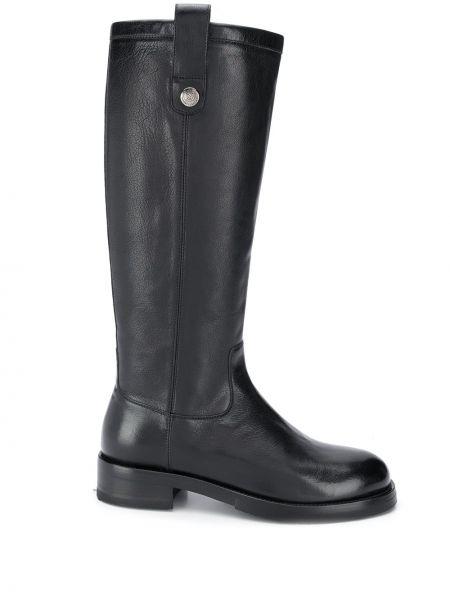 Черные сапоги на высоком каблуке до середины колена круглые из натуральной кожи Alberto Fasciani
