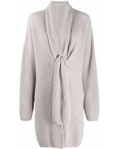 Серый с рукавами пуловер оверсайз из вискозы Agnona