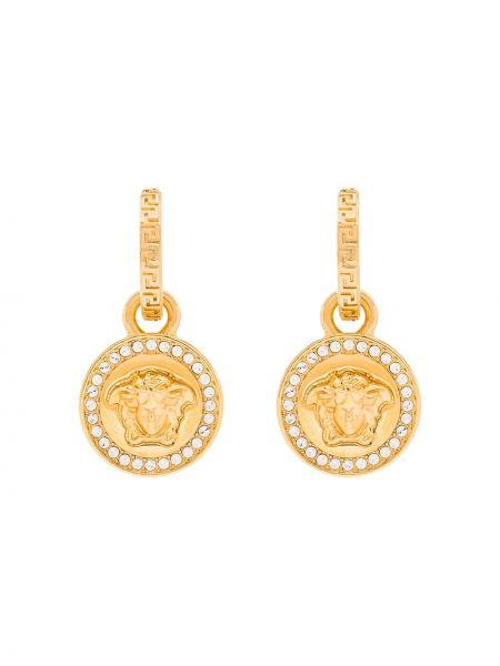 Z motylem kryształ kolczyki złoto z ozdobnym wykończeniem Versace