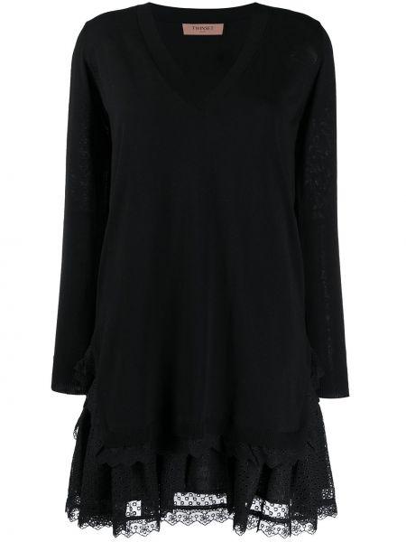 Черное платье с вышивкой на молнии свободного кроя Twin-set