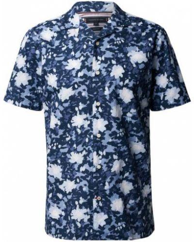 Niebieska koszula bawełniana krótki rękaw Tommy Hilfiger