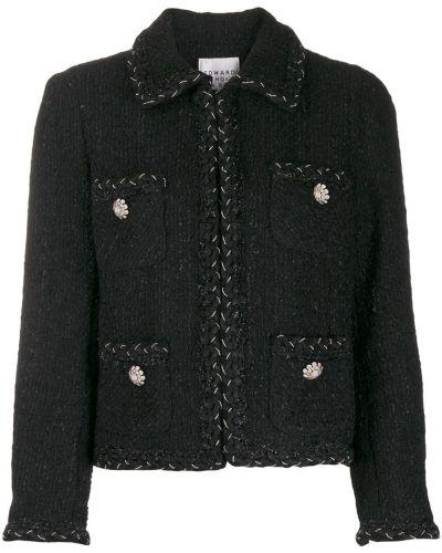 Черный приталенный классический пиджак с карманами Edward Achour Paris