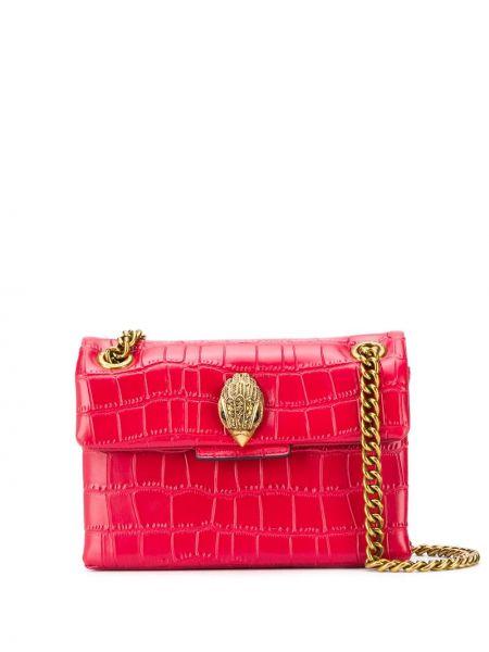 Золотистая кожаная красная сумка на цепочке Kurt Geiger London