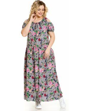 С рукавами свободное плиссированное платье миди с завязками Novita