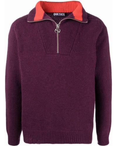 Sweter wełniany - fioletowy Diesel