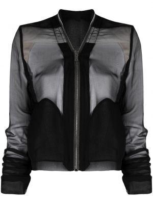 Czarna długa kurtka z długimi rękawami z jedwabiu Rick Owens