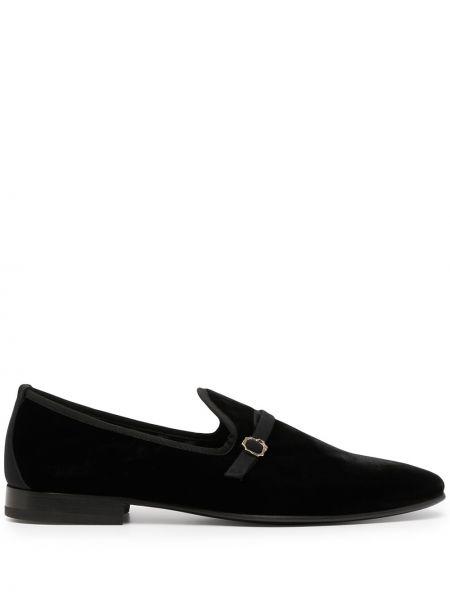 Czarne loafers z klamrą z aksamitu Malone Souliers