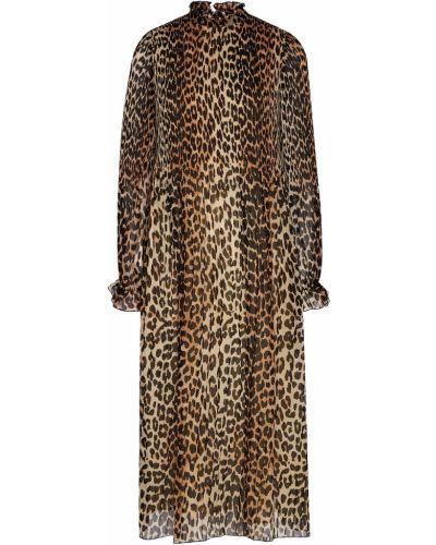 Платье миди леопардовое прямое Ganni