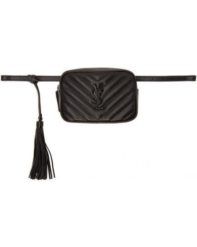Черный ремень с пряжкой Saint Laurent