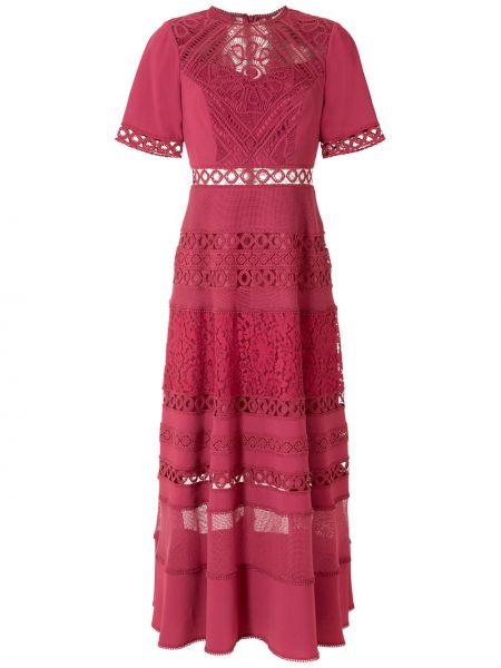 Розовое ажурное платье миди с короткими рукавами круглое Martha Medeiros