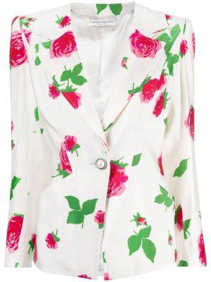 Деловой белый удлиненный пиджак на пуговицах Alessandra Rich