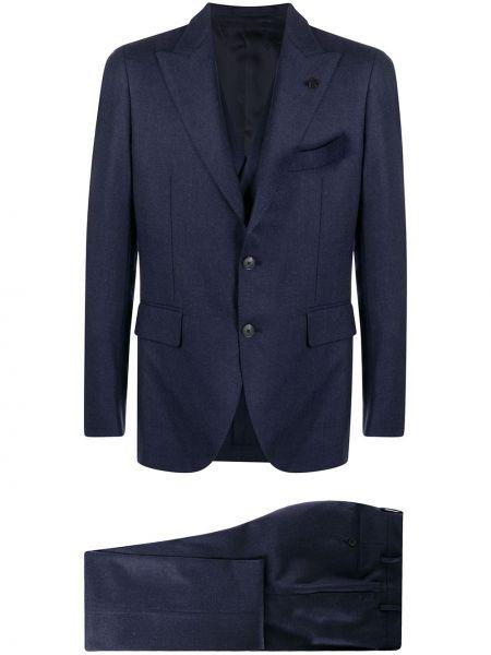 Ciemnoniebieski kostium garnitur trójka dwurzędowy z kieszeniami Gabriele Pasini