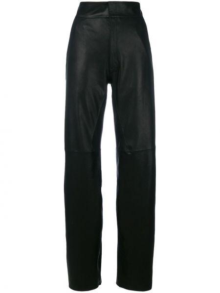 Черные прямые брюки с воротником с поясом Vanderwilt