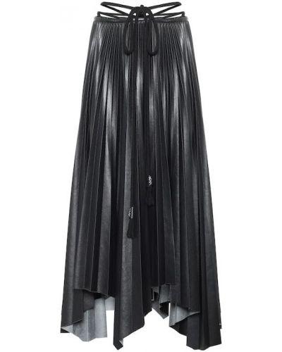 Кожаная юбка миди - черная Nanushka