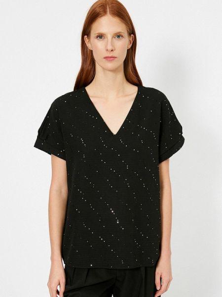 Черная блузка с коротким рукавом Koton