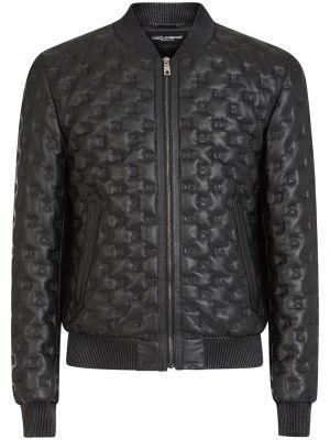Czarna długa kurtka skórzana z haftem Dolce And Gabbana