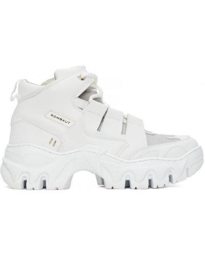 Białe sneakersy srebrne Rombaut
