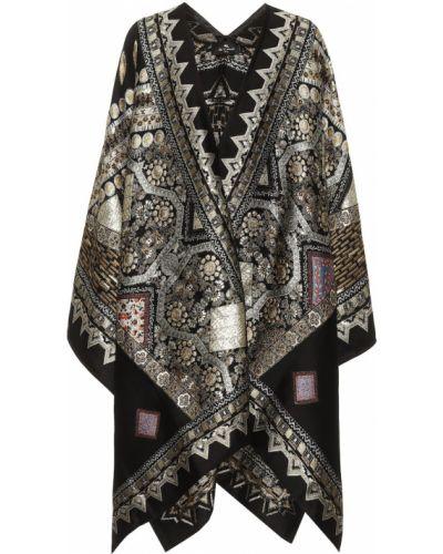 Wełniany czarny ponczo z haftem Etro
