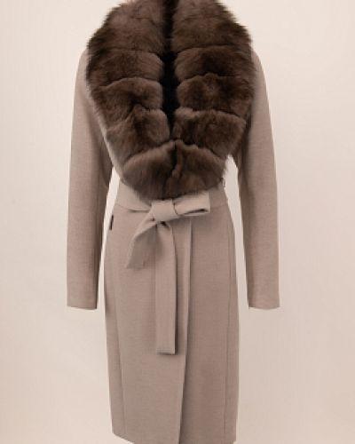 Серое шерстяное длинное пальто с воротником Electrastyle
