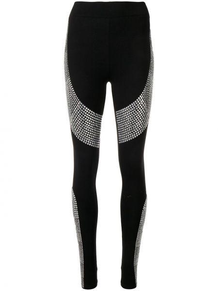 Bawełna bawełna czarny legginsy rozciągać Philipp Plein
