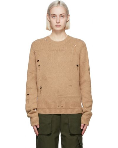 С рукавами шерстяной длинный свитер с воротником Helmut Lang