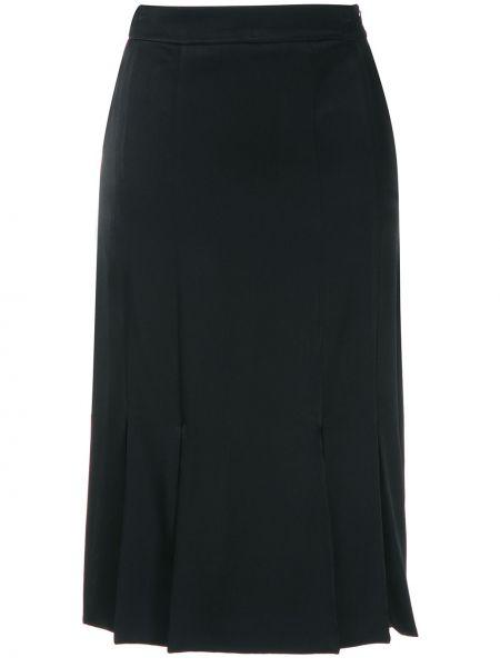 Черная прямая с завышенной талией юбка мини с разрезом Gloria Coelho