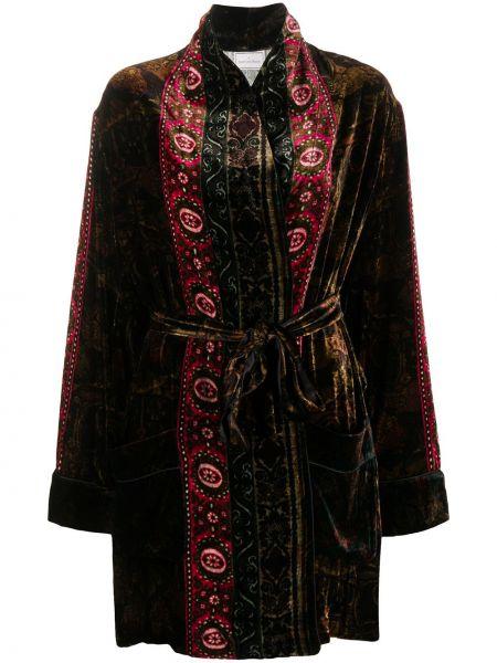 Прямое коричневое длинное пальто с поясом Pierre-louis Mascia