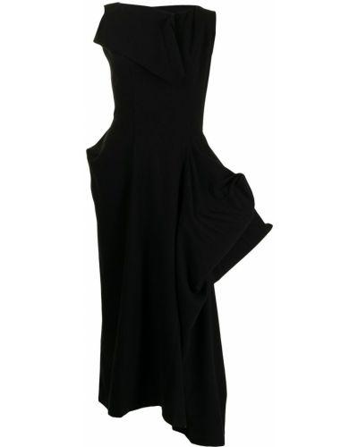 Czarna sukienka midi bez rękawów Yohji Yamamoto