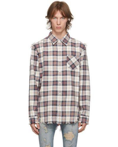 Фланелевая белая рубашка с воротником R13