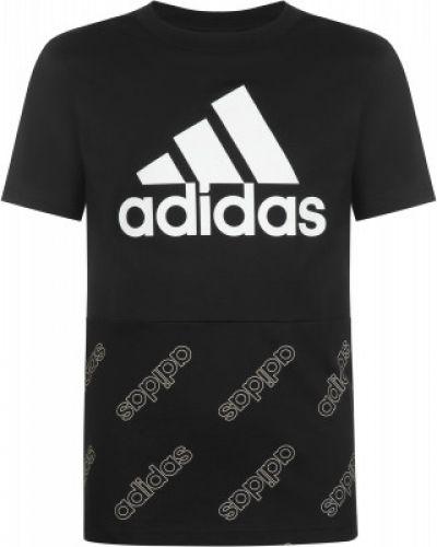 Хлопковая черная спортивная футболка Adidas