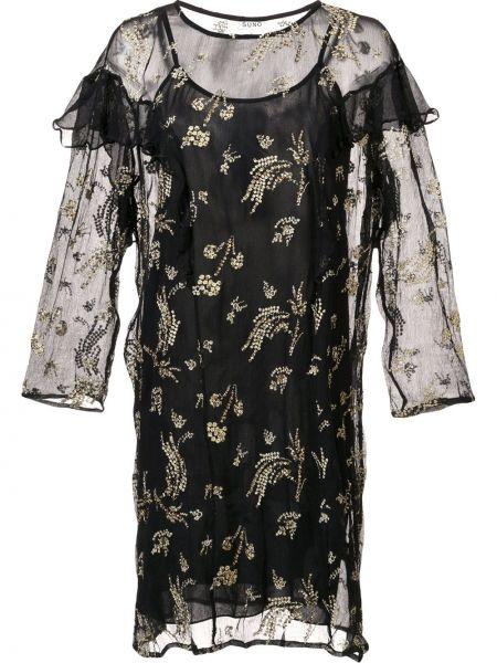 Платье шелковое с оборками Suno