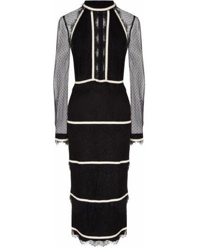 С рукавами черное платье миди с воротником-стойка Laroom