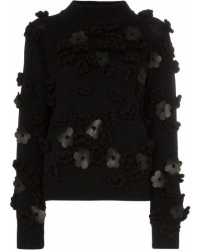 Черный вязаный свитер в рубчик Paskal