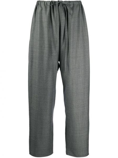 Шерстяные серые укороченные брюки свободного кроя с высокой посадкой Sofie D'hoore