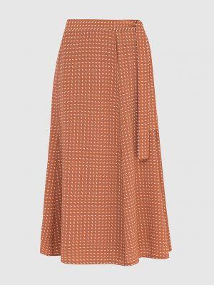 Коричневая шелковая юбка миди Loro Piana