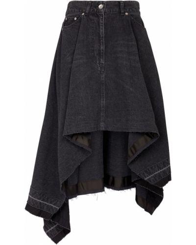 Асимметричная хлопковая черная джинсовая юбка Sacai