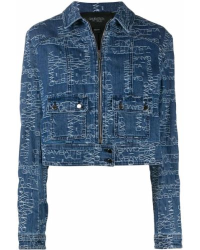 Ватная синяя длинная куртка с воротником Giambattista Valli