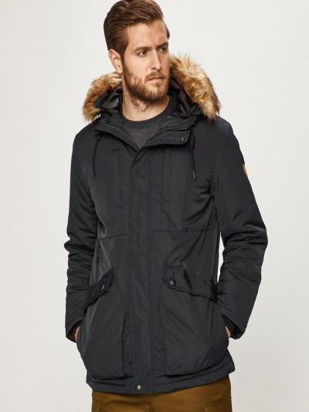 Куртка с капюшоном из искусственного меха с воротником Blend